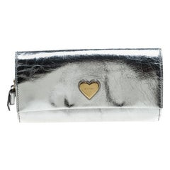 Dolce and Gabbana Silver Mirror Leather Heart Continental Wallet