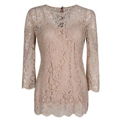 Dolce and Gabbana Blush Pink Floral Lace Scallop Trim Long Sleeve Blouse M