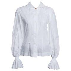 Fendi White Ruffled Cuff Detail Long Sleeve Shirt S