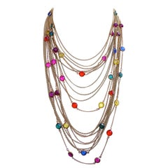 Gold Tone Multi Strand Necklace with Coloured Bezel Set Glass Rhinestones