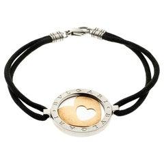 Bvlgari Tondo Heart 18k Gold & Stainless Steel Cord Bracelet