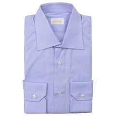 NEW Brioni Sky Blue Arosa Dress Shirt REG FIT 100% Cotton EU39/US15.5