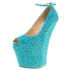 Giuseppe Zanotti Blue Crystal Embellished Suede  Peep Toe Platform Pumps Size 37