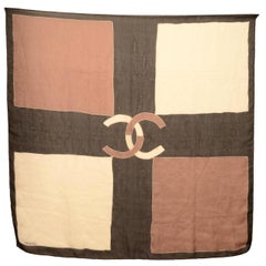 "Chanel 38"" Brown/Black/White Silk Scarf W/ CC"