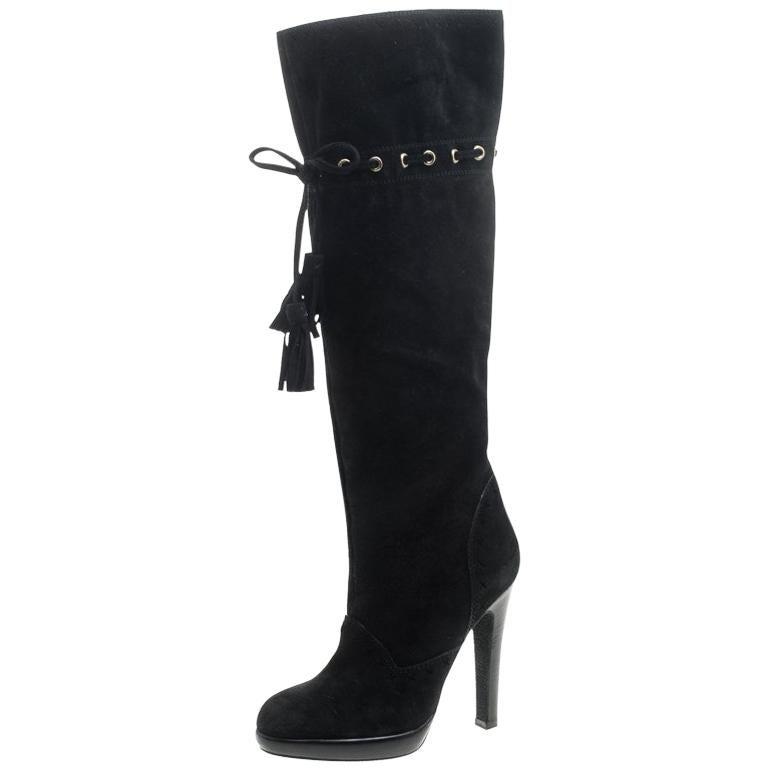 e0146c4a991 Saint Laurent Paris Black Suede Chelsea Tassel Knee Boots Size 36 For Sale