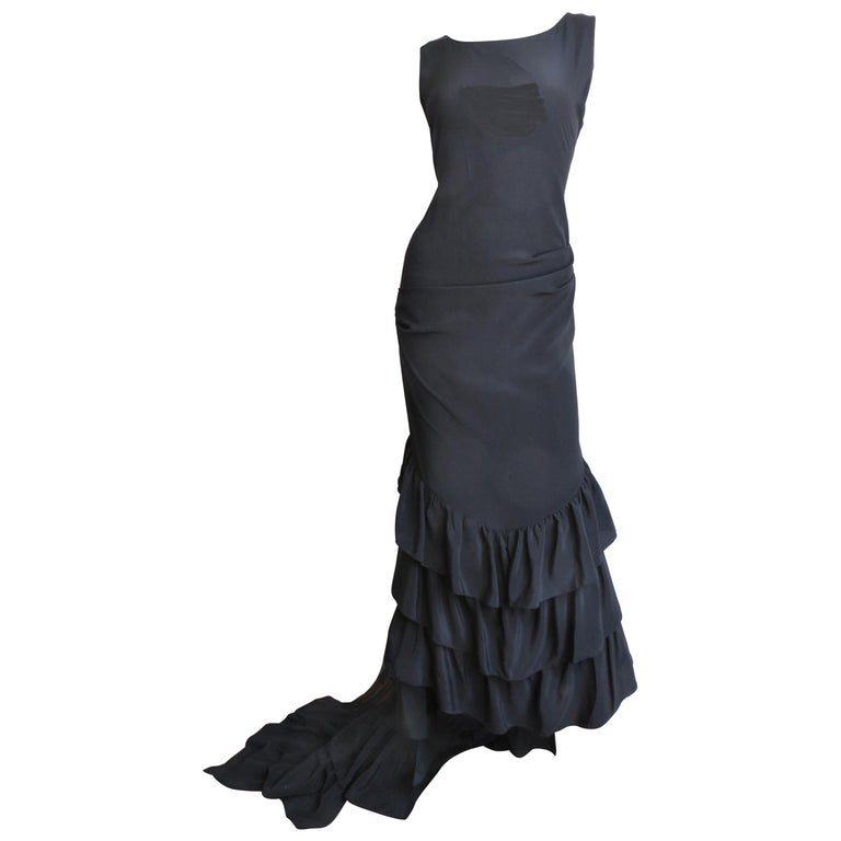 1990s Alexander McQueen Dress with Ruffle Train For Sale
