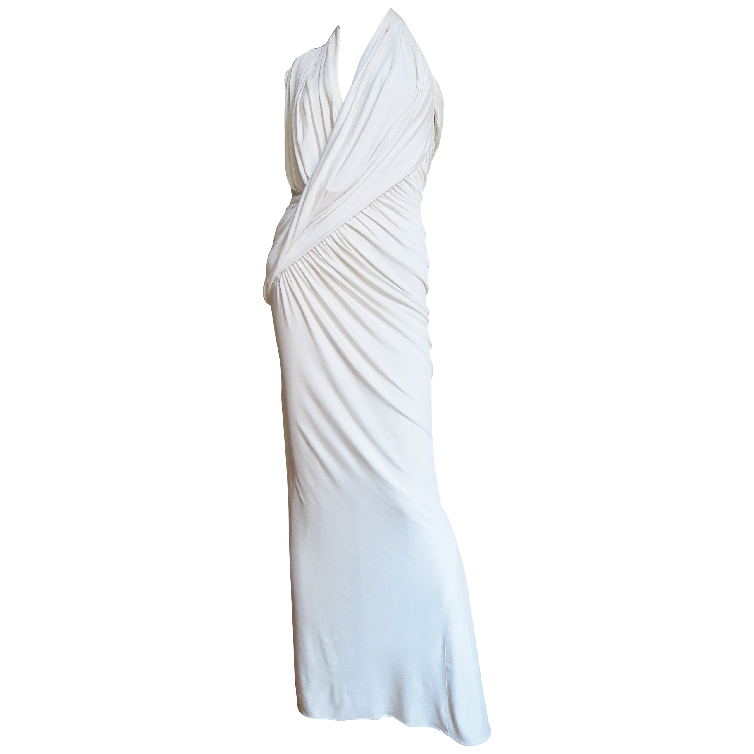 Donna Karan Asymmetric Ruched Silk Halter Dress