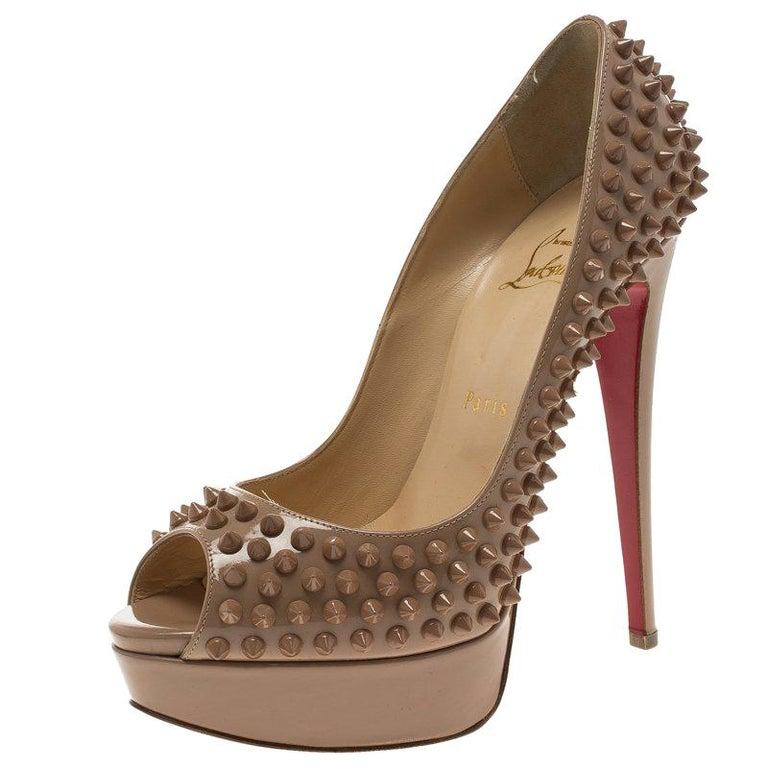 1bdc9774a2d5 Christian Louboutin Patent Leather Lady Peep Toe Spike Platform Pumps Size  38 For Sale