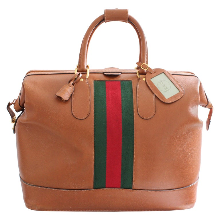 face79e5c7a0 Rare Gucci Saddle Leather Doctors Bag Duffel 50cm Weekender Luggage Vintage  For Sale