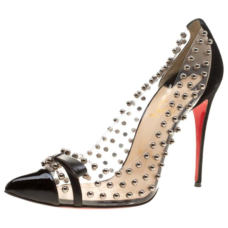 online store ac409 9a9df Christian Louboutin Black Studded Suede Boule Bow Pointed Toe Pumps Size  40.5