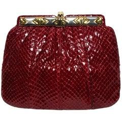 Judith Leiber Burgundy Python Clutch W/ Leather Shoulder Strap