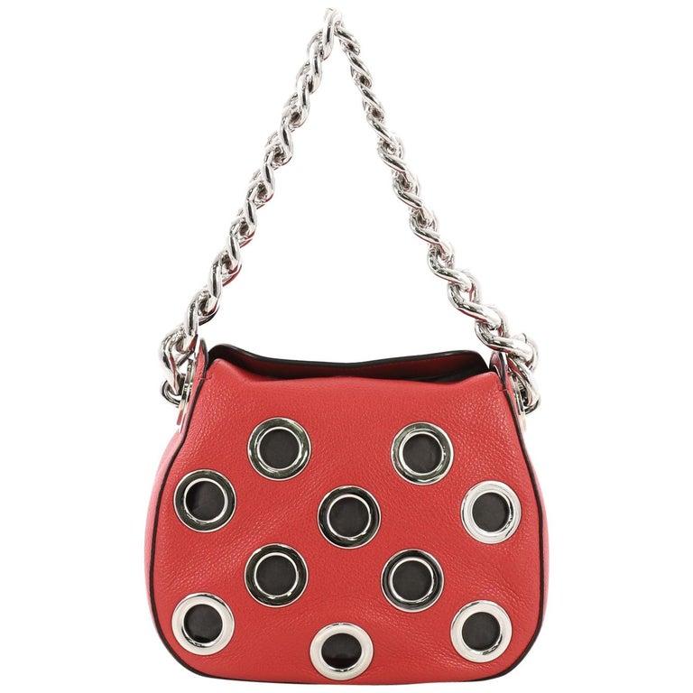 46bda9a5e0 Prada Grommet Chain Hobo Vitello Daino Small For Sale at 1stdibs