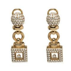 Chopard Vintage Happy Diamond 18k Yellow Gold Drop Earrings