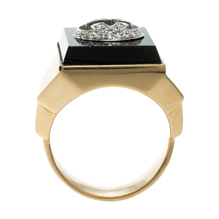 94cf06c8f81c8 Gucci Icon Boule Onyx and Diamond 18k Yellow Gold Ring Size 58 For Sale at  1stdibs