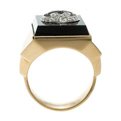 Gucci Icon Boule Onyx & Diamond 18k Yellow Gold Ring Size 58