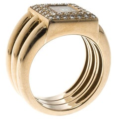 Chopard Vintage Happy Diamond 18k Yellow Gold Ring Size 54