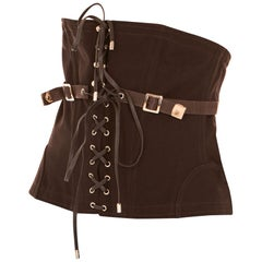 Tom Ford Womens Dark Brown Cotton Lace Up Corset Size IT46/US10