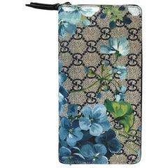 d44890012bdb Gucci Zip Around Organizer Wallet Blooms Print Gg Coated Blue