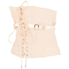 Tom Ford Womens Blush Pink Cotton Lace Up Waist Cincher Size IT44/US8