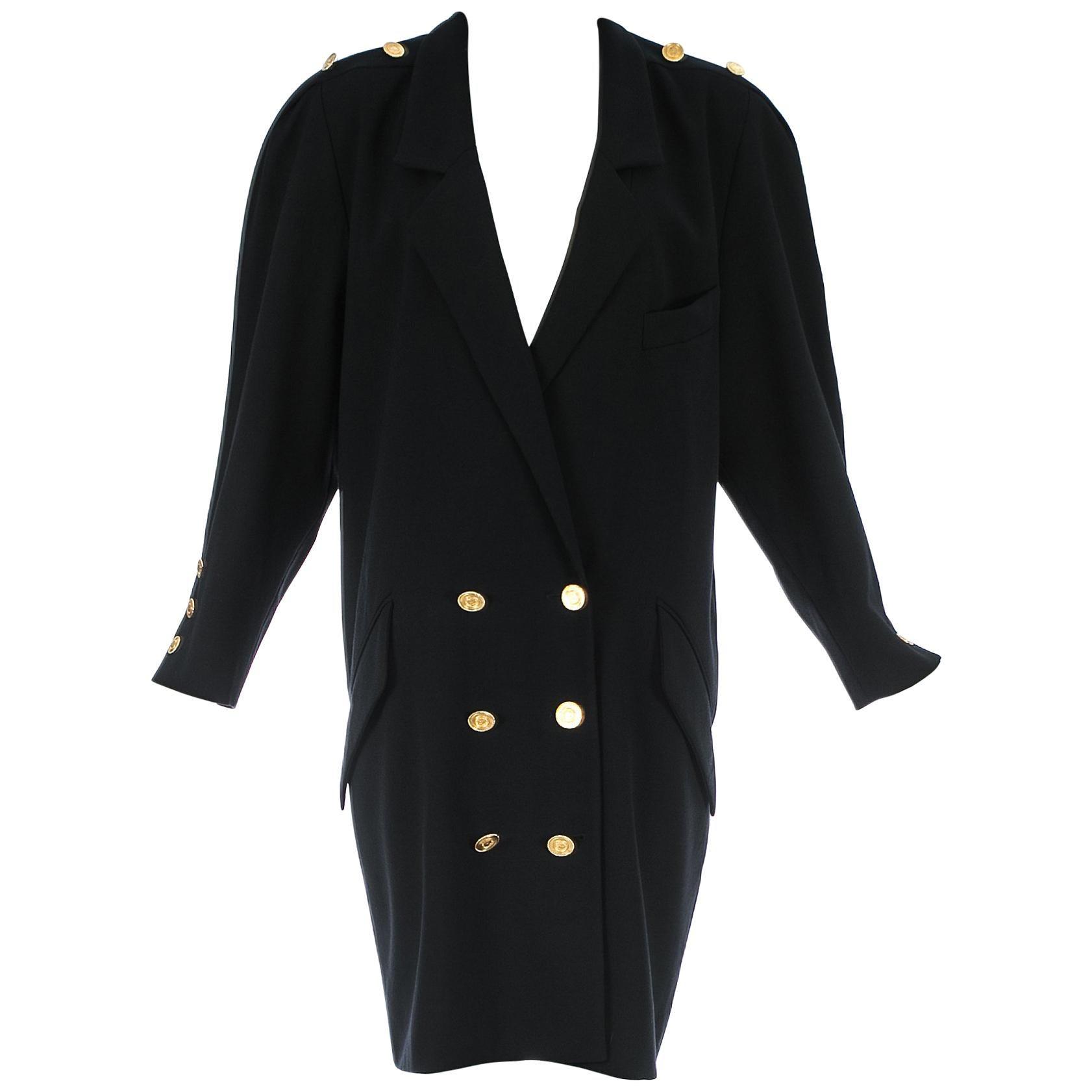 Chanel by Karl Lagerfeld black wool oversized coat dress, c. 1980s