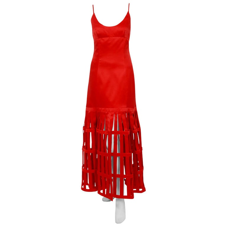 1992 Valentino Boutique Red Silk Low-Plunge Birdcage Cut-Out Backless Maxi Dress For Sale