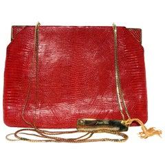 Judith Leiber Red Lizard Handbag With Corner Closures