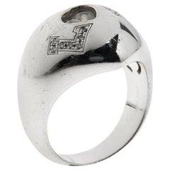 Chopard Happy Love Heart Diamond 18k White Gold Dome Ring Size 57