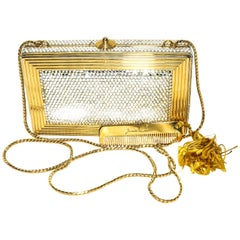 Judith Leiber Gold Tone Metal and Crystal Clutch Bag