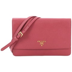 Prada Wallet on Strap Saffiano Leather Small