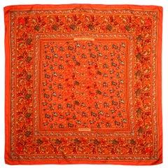 Hermes Orange Chasse En Inde 90cm Silk/Cashmere Scarf