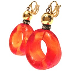 "70'S MOD Gold Lucite ""Doughnut Hole"" Hoop Earrings"