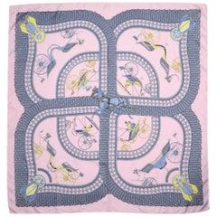 Hermes Pink/Grey Voitures Paniers 90cm Silk Scarf