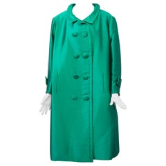 Jean Patou Green Silk Evening Coat
