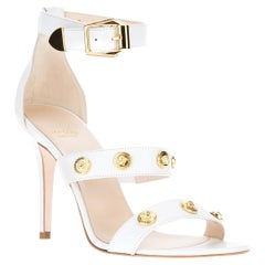 New Versace Signature Medusa Medallion Ankle-Strap White Leather Sandals 40 - 10