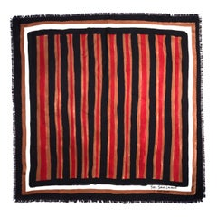 """Yves Saint Laurent Haute Couture Black/Brown/Red Striped 35"""" Silk Scarf W Fringe"""
