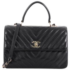Chanel Trendy CC Top Handle Bag Chevron Lambskin Medium