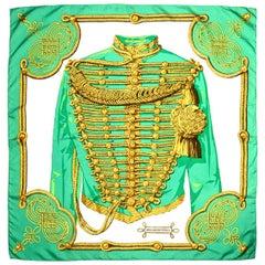 Hermes Green/White/Gold Brandebourgs 90cm Silk Scarf