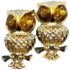 Circa 1940s Coro Craft Duette Yellow and Goldtone Owl Brooch/Clips