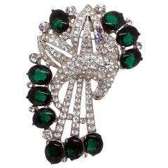 Circa 1930s Coro Emerald Green Cabochon & Rhinestone Brooch/Clip