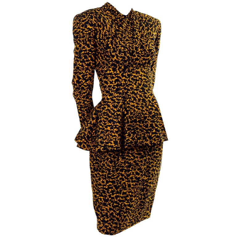 Vicky Tiel Peplum Top & Skirt Dress / Suit in Yellow & Black Abstract Silk Print For Sale