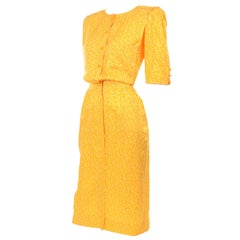 Vintage Ungaro Parallele Cotton Dress in Yellow & White Print
