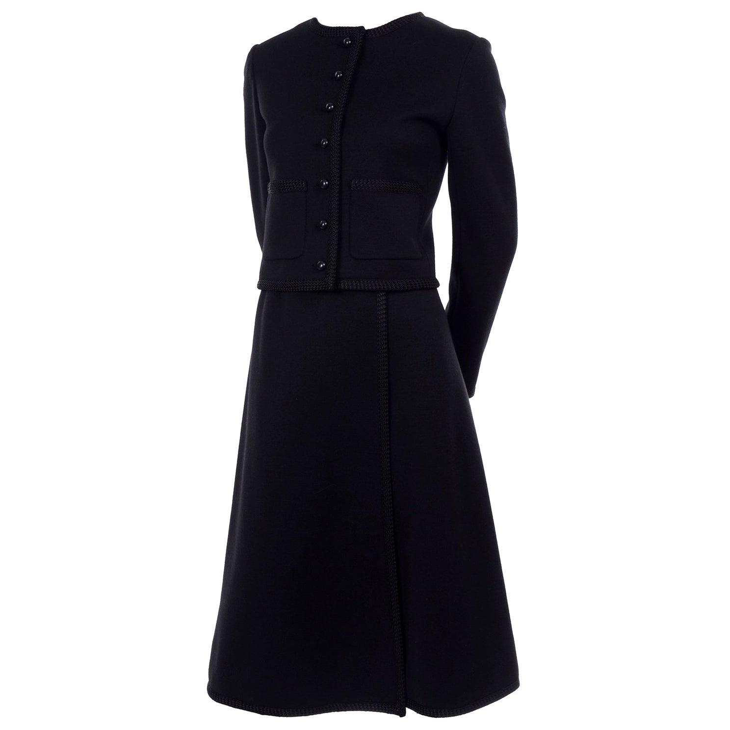 Vintage YSL Yves Saint Laurent Black Wool Skirt Suit w/ Boxy Jacket & Braid Trim