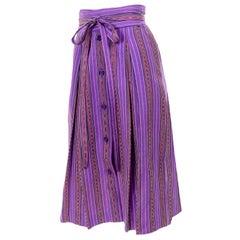 1970s Yves Saint Laurent YSL Vintage Purple Striped Skirt With Sash Belt