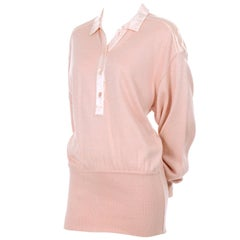 Vintage Escada Margaretha Ley Silk Blend Sweater in Nude Pink With Satin Trim