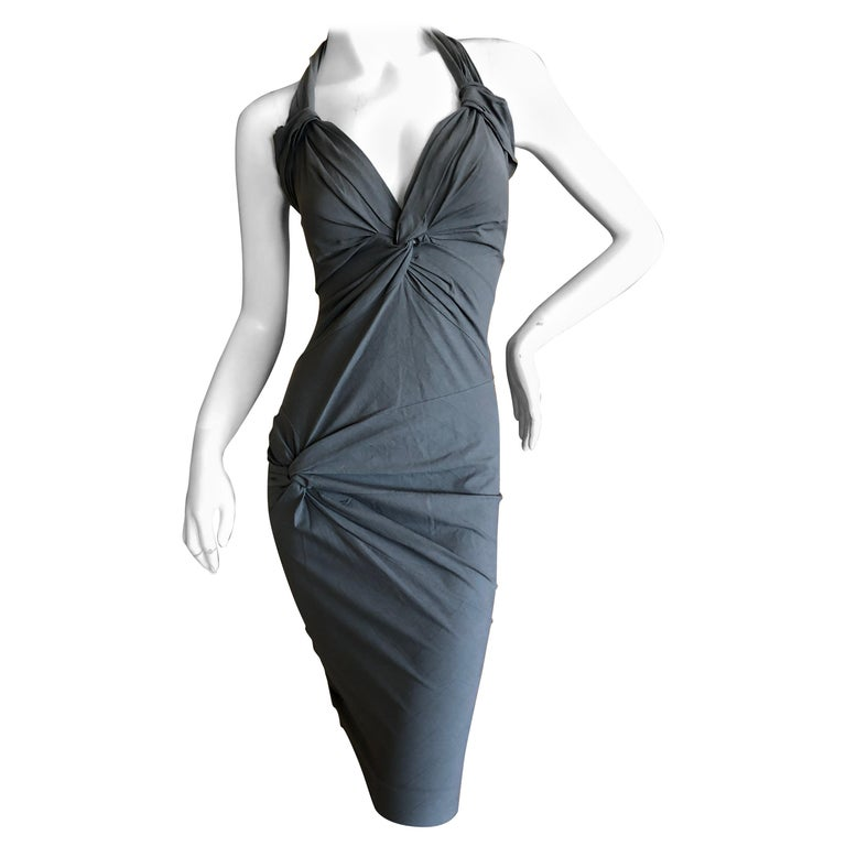 ed4462c3ee7c5 Christian Dior by Galliano Gray Stretch Cotton Bodycon Knot Dress For Sale
