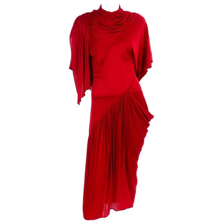1980s Vintage Dress in Rich Red Jersey With Dramatic Draping For Sale