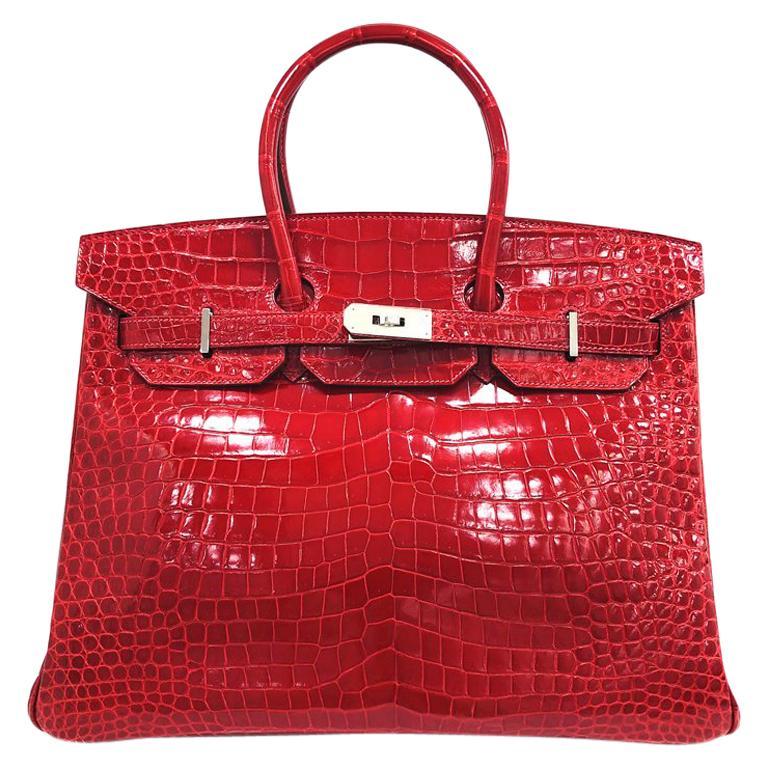 ea48260f5e42 Hermes Birkin 35 Red Crocodile Skin Shoulder Bag For Sale at 1stdibs