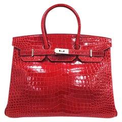 Hermes Birkin 35 Red Crocodile Skin Shoulder Bag