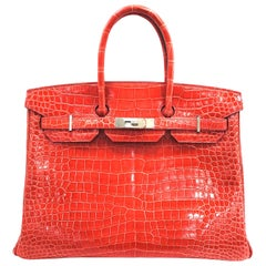 Hermes Birkin 35 Watermelon Red Crocodile Skin Shoulder Bag