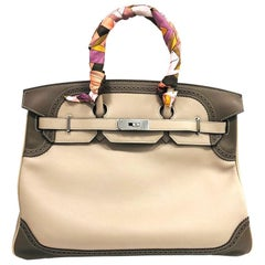 Hermes Birkin 35 Gray Cowhide Leather Shoulder Bag